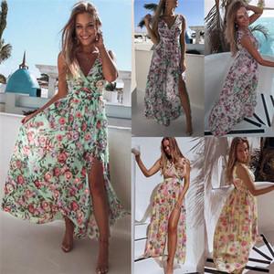 Elbiseler Plaj OL Stiller V Yaka Maxi Çiçek Baskılı Kolsuz Etek Yaz Kadın Giyim Yaz Kadın Tasarımcı Bölünmüş şifon