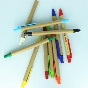 Papel de papel respetuoso con el medio ambiente Pluma de bolígrafos personalizados Suministros Escolares Papelería Plástico Pluma Pluma Pluma Estudiantes Promocionales Ballo Pens DH1334 T03