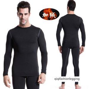 Winter Clothes Plus Velvet Pro Men Tight Fit Training Sports Fitness Long Sleeve T Shirt Long Sleeve Shirt 1021