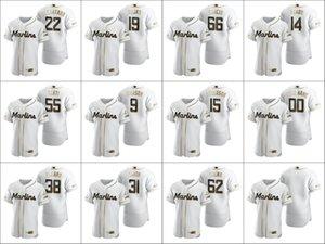 Miami S-6XL Marlins Men # 14 Martin Prado 22 Sandy Alcantara 62 Jose Urena Frauen JugendWeiß Authentisches Golden Edition Gewohnheit Jersey