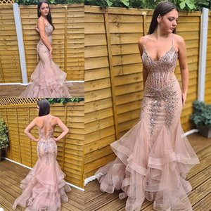 Sexy Mermaid Evening Dresses Spaghetti Strap Sleeveless Appliqued Lace Sequins Beaded Prom Gown Tiered Tulle Bandage Sweep Train Party Gown