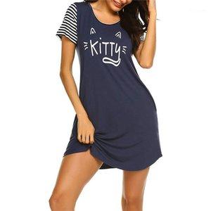 Por encima de colores para mujer de longitud de la rodilla sleepshirts Carta linda impresión de manga corta dormir Moda cuello redondo señoras Pijamas Contraste