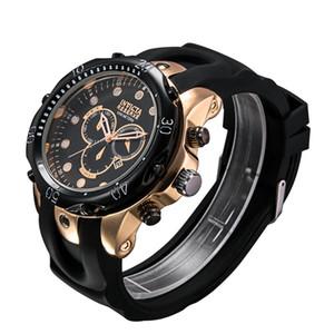 2019 탑 셀 방식 스위스 쿼츠 시계 INVICTA 손목 시계 스테인레스 스틸 로즈 골드 남성 스포츠 밀리터리 DZ 육군 달력 시계 실리콘 스트랩