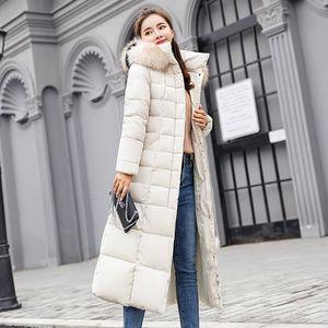 Moda- Casual Winter Down Cotton Chaquetas 2018 Chaqueta larga de invierno Mujer Cuello de piel Parkas Mujer Slim Winter Warm Coat Womens 90401MX190822