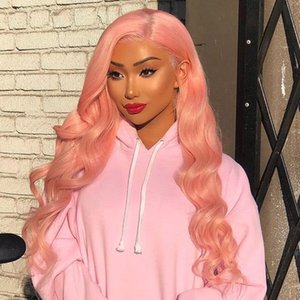 Las pelucas de pelo humano frente Rosa lacefront peluca Pre desplumados rayita onda del cuerpo de la Virgen brasileña sin cola rosada del cordón con el pelo del bebé