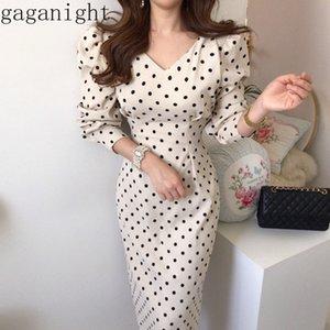 Gaganight Vintage Zarif Polka Dot Kadınlar Uzun Elbise İlkbahar Sonbahar Yeni Moda Uzun Kollu Elbiseler V Yaka İnce Lace Up vestidos