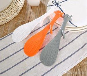 Güzel Mutfak Supplie Sincap Plastik Pota Sigara Çubuk Pirinç Paddle Meal Kaşık 3 Renk 21cm Şeklinde * 5.7cm SN1290