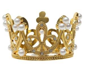 Mini Crown Princess Topper Kristal İnci Tiara Çocuk Saç Süsler Düğün Doğum Günü Partisi Kek Dekorasyon Araçları
