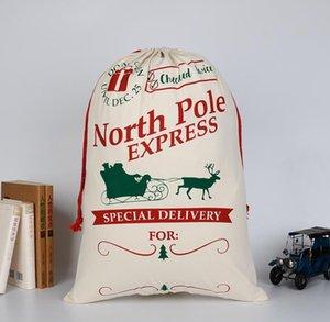 هدايا عيد الميلاد الرباط قماش سانتا عيد الميلاد أكياس قماش كبير Monogrammable سانتا كلوز الرباط حقيبة مع حيوانات الرنة SN1105