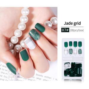 Hot 30pcs Reusable Glitter False Nail Artificial Tips Set Full Cover for Decorated Design Press on Nails Art Fake Extension Tips Kit