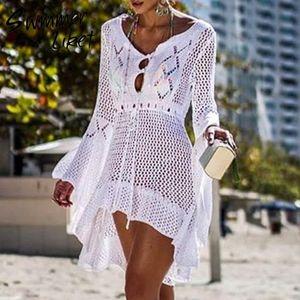 Yaz 2019 plaj sarong de plage etek Yeni moda örgü tunik elbise kadınlar Beyaz mayo covre-up Hollow dışarı plaj örtbas