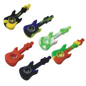 Гитара силикона дымовоотвод с крышкой Чаша Herb мундштук кальян Бонг дыма Комплектующие Silicone трубы
