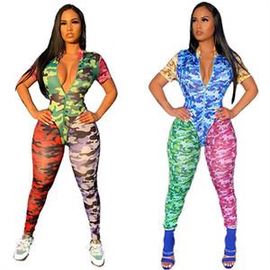 Camouflage Women Sultsuits Manica corta manica corta Zipper Pagliaccetti BodyCon One-Piece Body Camo Patchwork Tuta Outfits estivi club Rompere Vestiti