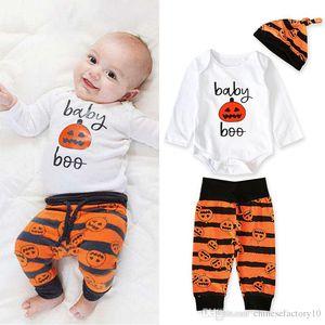 Ins Baby boys halloween manica lunga pagliaccetto pantaloni pantaloni cappello zucca set di abbigliamento set 3 pz set costumi abbigliamento per bambini