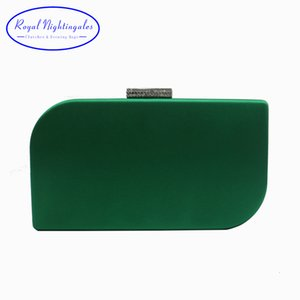 Royal Nightingales Hard Box Clutch Silk Satin Velvet Dark Green Evening Bags for Womens Party Prom and Matching Shoes and Dress CJ191209