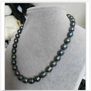 stunning12-13mm tahitian black green baroque pearl necklace 18inch 14K