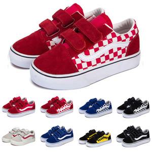 Orijinal tuval sneakers old skool çocuklar bebek kız erkek ayakkabı siyah beyaz mavi moda daireler kaykay rahat ayakkabı
