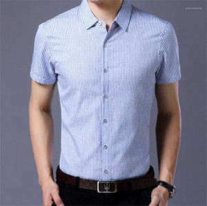Verão Skinny Com Único Breasted Designer Striped Homens Camisas Casual Turn Down Collar manga curta Mens Shirts