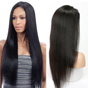 Alineados recta sedosa de la cutícula del cabello humano 360 de encaje completa pelucas de pelo frontal con el bebé de 24 pulgadas Pre desplumados brasileño de la Virgen del pelo