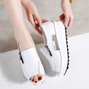 2019 Summer Women Platform Sandals Shoes Genuine Leather Ladies Wedges Sandals Open Toe Zipper Sandalias Shoes for Women 8332 Y200702
