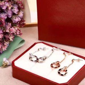 Designer LOVE earrings jewelry 925 sterling silver double circle diamond long earrings women  engagement earrings 2 colors