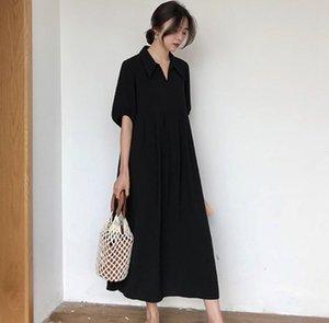 Shirt ragazza delle donne nuovo modo di estate nero Femmina allentato causale lungo vestito dalla rappezzatura del cotone dei vestiti Corea