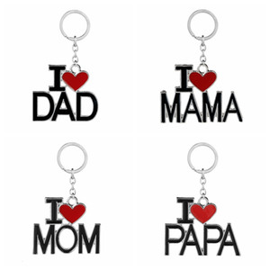 English Letter Keychain I Love Papa Mama Mom Dad Metal Key Ring Family Keychains for Father Mother'S Day Gift Party Favor GGA2711