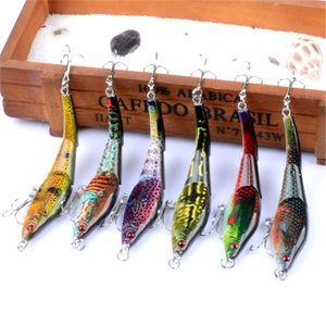 6Pcs Lot Set Painting Minnow 9.5Cm 8.9G Fishing Lure Kit Crankbait Hard Bait Artificial Isca Wobbler Sea Bass Carp Fishing GnFrv