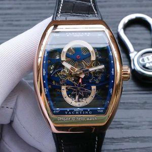 New Vanguard YachTing Cassa in oro rosa V45 S6 YACHT quadrante blu scheletro automatico orologio da uomo cinturino in pelle / cinturino in gomma orologi sportivi hello_watch