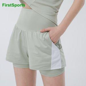 Yoga Outfits Brand High-талию тренажерный зал Шорты женщин 2 в 1 спортивный бегущий быстрый сухой фитнес тренировки бега с карманами