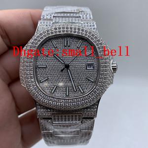 Relógio de homens de diamantes de aço inoxidável todo-gelo direto da fábrica 8215 Relógio de homens de diafragma mecânico automático de 40 mm 5719/10 dos homens direto da fábrica