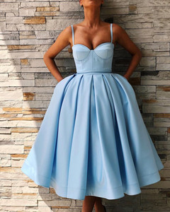 Spaghetti Strips Sky Blue Prom Dresses 섹시한 2020 쇼트 파티 드레스 파티 드레스 Vestidos De Soiree Evening Party Gowns