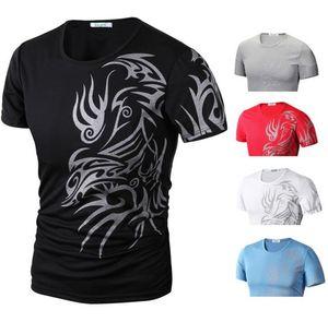 Moda erkek Moda Spor T-Shirt Gömlek Kısa Kollu O Boyun Ejderha Baskı Süper Elastik Slim Fit Kaliteli T Gömlek