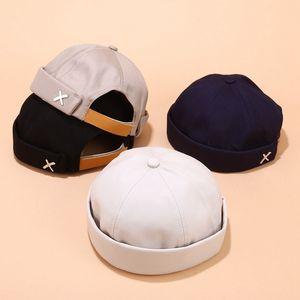 Los hombres de la calle casual acoplable marinero motorista sombrero Beanie Cap bucle sin ala moda unisex calabaza Armada Gorros Vintage