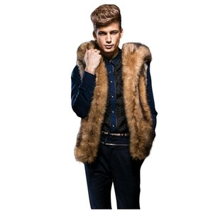 CHAMSGEND 2019 inverno Faux Fur Vest uomini incappucciati addensare pelliccia calda giacca senza maniche Cappotti Gilet Vest Chaleco Hombre