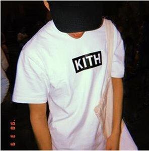 Herren Bekleidung Sommer Herren T-Shirts KITH Mode beschriftet die gedruckte T-Shirt Cool Kurzarm-T-Shirts mit Rundhalsausschnitt Mann Frauen Weiß Schwarz Tops