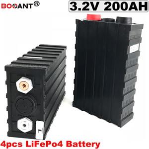 4 200Ah pçs lote LiFePo4 Bateria Recarregável Ciclo Profundo Bateria 3.2 v Para O Veículo Eléctrico, bicicleta elétrica Da Bateria de Lítio