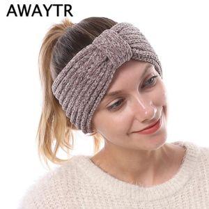 AWAYTR Ladies Autumn Winter Knit Hair Band Soft Thick High Quality Elastic Headband Warm Wool Bow Women Hair Accessories