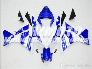 OEM Kalite Yeni ABS Tam Fairing Setleri Özel Mavi Beyaz güzel serin seti YAMAHA YZF1000 12 13 14 2012 2013 2014 R1 Kaporta için uygun