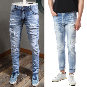 Blaue Design Motocycle Jeans Männer Schaden Patches Denim Hosen Paint Wash Wash Effect Skinny Fit Cowboyhose