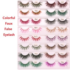 Übertriebene Bunte 3D Faux Mink Wimpern Stereoscopic Crossing falsche Wimper für Nachtclub-Party-Girl Eye Lashes