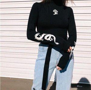 Autunno Donne Amore drago T-shirt stampate riflettente Moda dolcevita a maniche lunghe T-shirt Slim Harajuku Femminile Notte abbigliamento;