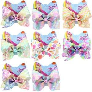 8 inch Kids JOJO Siwa Bowknot Hairpins Baby Girls Hair Clip Ribbon Solid Crystal Drill Hair Bow Barrettes Fancy Headress Hair Accessories