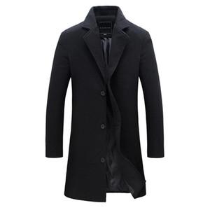 2018 moda erkek yün ceket kış sıcak düz renk uzun siper ceket erkek tek göğüslü iş rahat palto parka