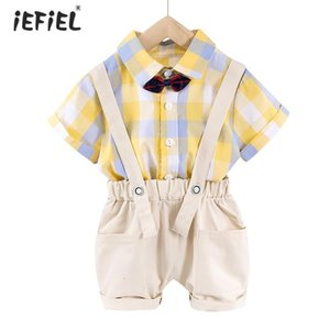 2PCS Toddler Infant Baby Boys Summer Outfit Plaid Short Sleeve Shirt with Shorts Clothes Set Birthday Party Costume Photography