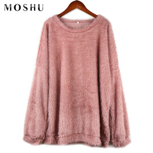 MOSHU Sweaters Women Plus Size Solid Long Length O-Neck Long Sleeve Sweater Female Korean Style Fashion 2019 Winter Pullover