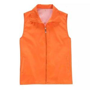 Reklam yelek kadın Man Plus Size 3XL Hırka Boş Yaka Kolsuz Katı Safari Stil Yelek Çalışma Coat Shirt Tops