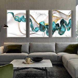 Nordic Resumen de color azul Spalsh oro lienzo de pintura de pósteres y láminas de arte única decoración de la pared de fotografías para la sala de estar Dormitorio