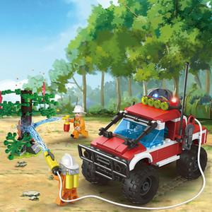 Blok DIY numaralı binada itfaiye aracı küçük parçacık yapı taşı Oyuncak Yapboz Çocuk fişi
