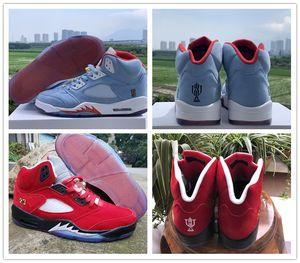 Nueva llegada sala de trofeos x 5 JSP Men Basketball Shoes Populares 5s Ice Blue University Red Mens Designer Athletic Sports Sneakers Con caja